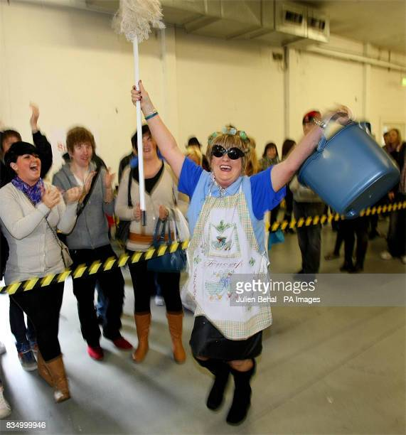 Grandmother and mother of nine Olivia Reid from Dundalk dressed up as a cleaning lady takes part in the auditions for Big Brother in Ireland in...