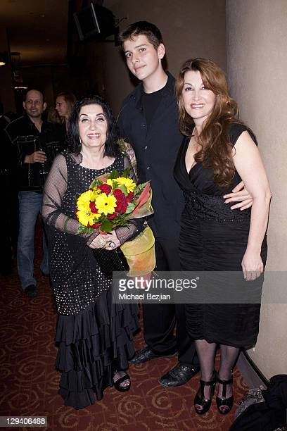 Grandmother Apick Youssefian son Andrew and mother Mary Apick pose at 'Beneath The Veil' Post Play Reception at Alex Theatre on March 11 2011 in...