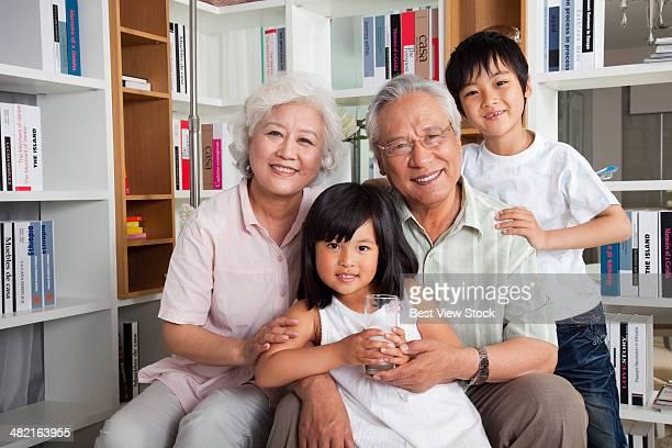 Grandpa and grandchild in the study room