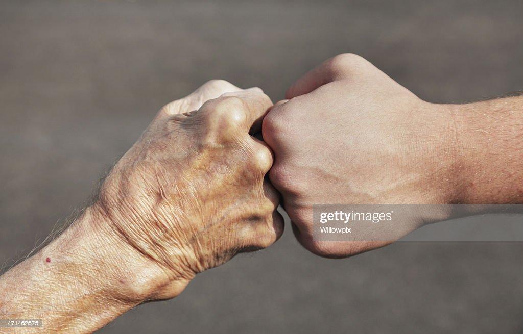Grandpa and Grandson Fist Bump