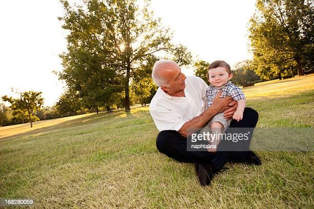 Grandpa and nephew at park