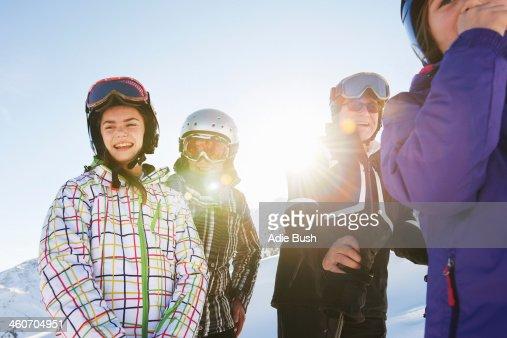 Grandparents and granddaughters, Les Arcs, Haute-Savoie, France