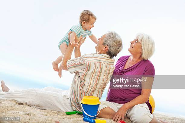 Grandparents at the Beach having fun