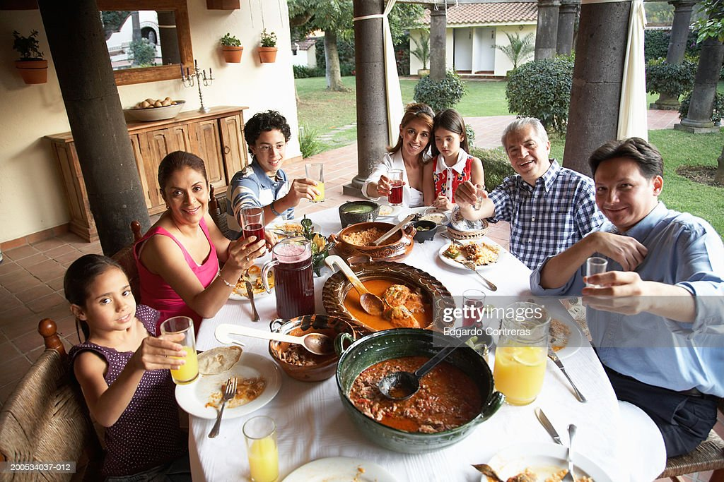 Grandparents, parents and children (7-15) toasting at dinner, portrait : Stock Photo