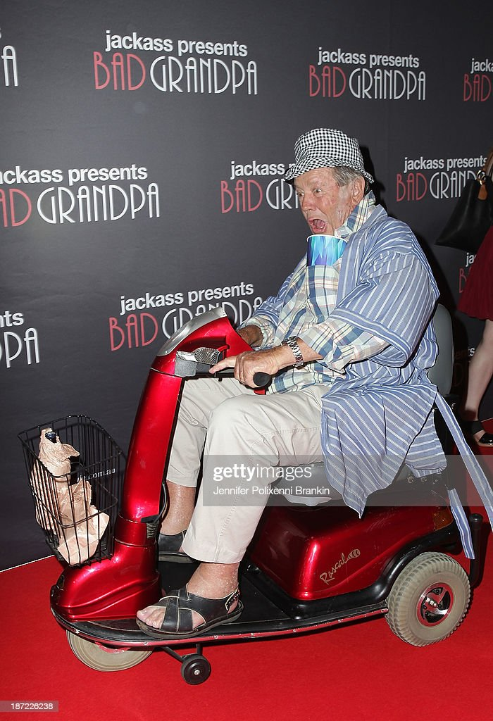 Grandpas riding mobility scooters attend the Australian premiere of 'Jackass Presents: Bad Grandpa' at Event Cinemas, George Street on November 7, 2013 in Sydney, Australia.