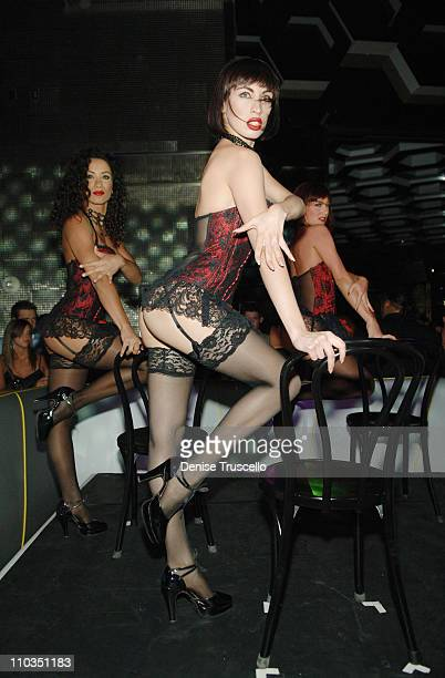 MGM Grand's Crazy Horse Paris dancers perform at the celebration for their pictorial in the June issue of Playboy Magazine at Moon Nightclub at The...