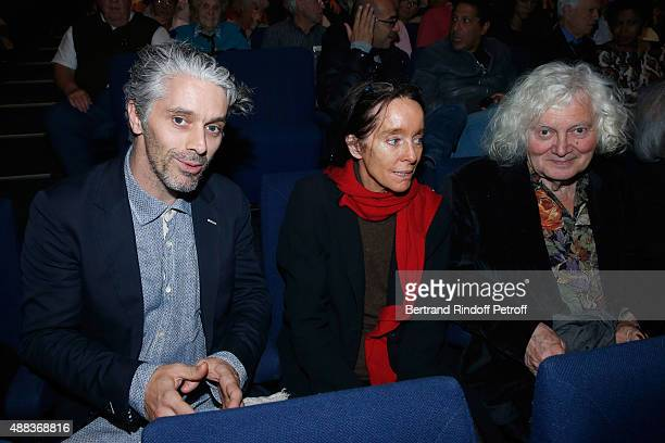 Grandson of Charlie Chaplin James Thierree and his mother Victoria Chaplin Thierree attend the Concert of singer Charles Aznavour at Palais des...