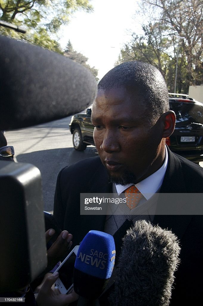 Grandson of Nelson Mandela, <a gi-track='captionPersonalityLinkClicked' href=/galleries/search?phrase=Mandla+Mandela&family=editorial&specificpeople=5849591 ng-click='$event.stopPropagation()'>Mandla Mandela</a> speaks to the press on June 12, 2013, in Pretoria, South Africa. Former President Nelson Mandela is in the Pretoria Heart Hospital, where he is being treated for a recurring lung infection.