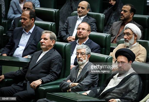 Grandson of the founder of the Islamic Republic of Iran Ruhollah Khomeini Hassan Khomeini Speaker of the Conservatives Coalition Haddad Adel and...