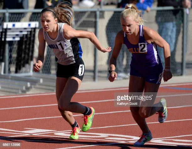 Grandview's Brie Oakley left and Fort Collins Lauren Gregory launch off the starting line in the girls 5A 3200 meter event The state track and field...