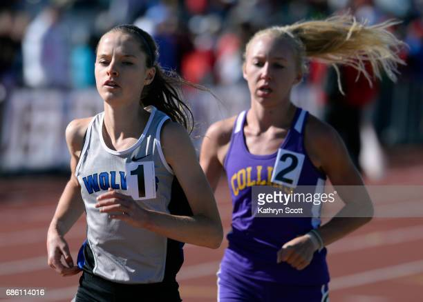 Grandview's Brie Oakley left and Fort Collins Lauren Gregory run a close first and second in the girls 5A 3200 meter event The state track and field...