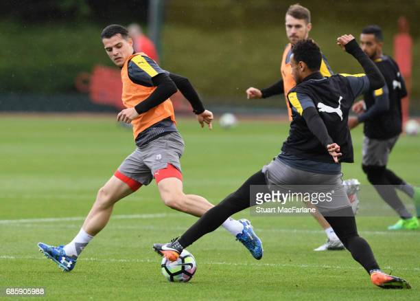 Granit Xhaka and Francis Coquelin of Arsenal during a training session at London Colney on May 20 2017 in St Albans England
