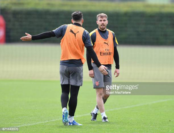 Granit Xhaka and Hector Bellerin of Arsenal during a training session at London Colney on April 22 2017 in St Albans England