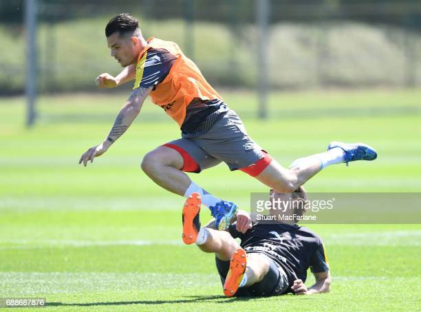 Granit Xhaka and Hector Bellerin of Arsenal during a training session at London Colney on May 26 2017 in St Albans England