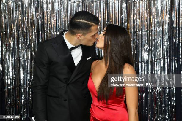 Granit Xhaka and his wife Leonita Lekaj are pictured inside the photo booth prior to The Best FIFA Football Awards at The London Palladium on October...