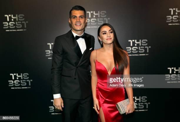 Granit Xhaka and Leonita Lekaj during the Best FIFA Football Awards 2017 at the Palladium Theatre London