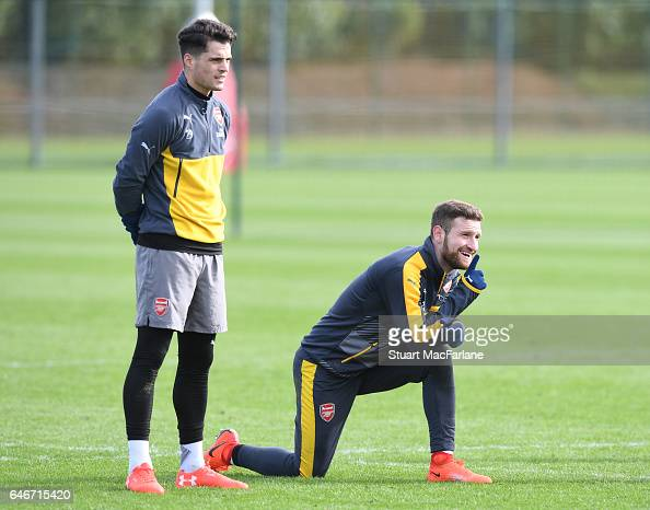 Granit Xhaka and Shkodran Mustafi of Arsenal during a training session at London Colney on March 1 2017 in St Albans England