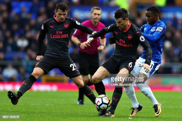 Granit Xhaka Laurent Koscielny both of Arsenal and Ademola Lookman of Everton in action during the Premier League match between Everton and Arsenal...