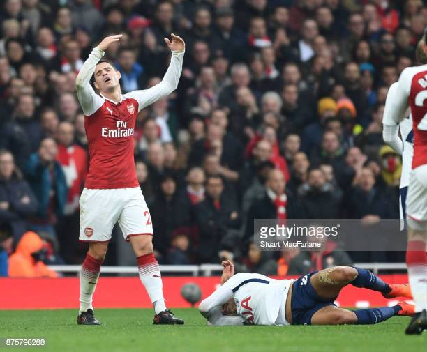 Granit Xhaka of Arsenal after his challenge of Tottenham's Dele Alli during the Premier League match between Arsenal and Tottenham Hotspur at...