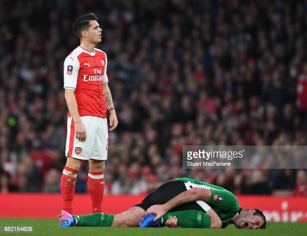 Granit Xhaka of Arsenal after his foul of Lincoln's Matt Rhead during the Emirates FA Cup QuarterFinal between Arsenal and Lincoln City at Emirates...
