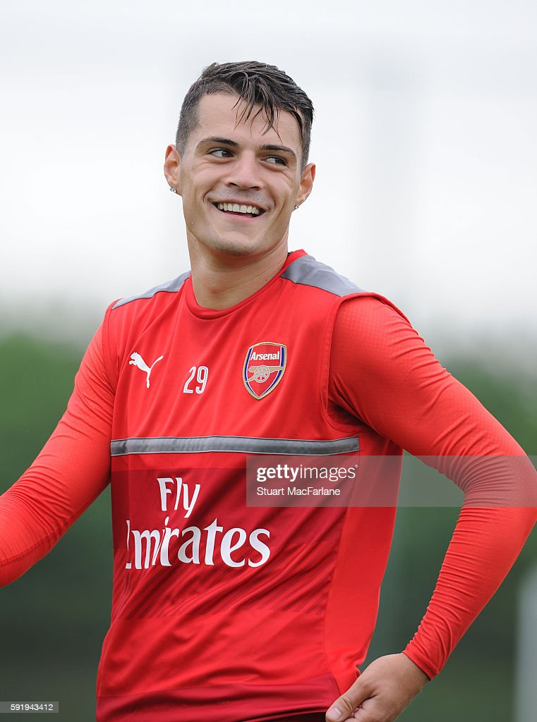 Granit Xhaka of Arsenal during a training session at London Colney on August 19 2016 in St Albans England