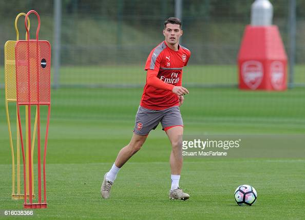 Granit Xhaka of Arsenal during a training session at London Colney on October 21 2016 in St Albans England