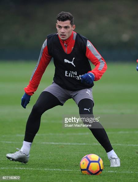 Granit Xhaka of Arsenal during a training session at London Colney on December 2 2016 in St Albans England