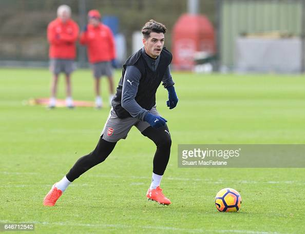 Granit Xhaka of Arsenal during a training session at London Colney on March 1 2017 in St Albans England