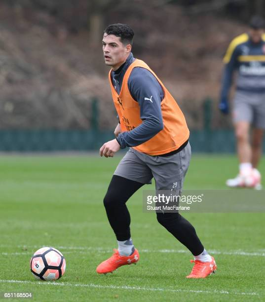 Granit Xhaka of Arsenal during a training session at London Colney on March 10 2017 in St Albans England