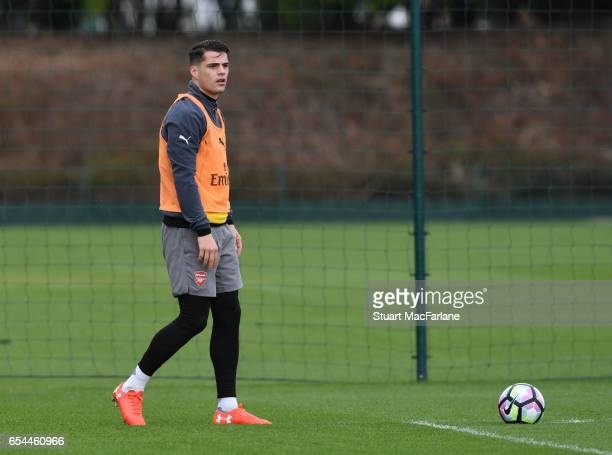 Granit Xhaka of Arsenal during a training session at London Colney on March 17 2017 in St Albans England