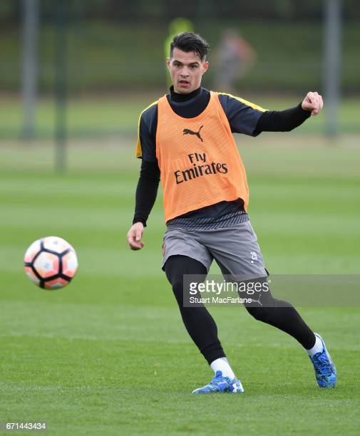 Granit Xhaka of Arsenal during a training session at London Colney on April 22 2017 in St Albans England