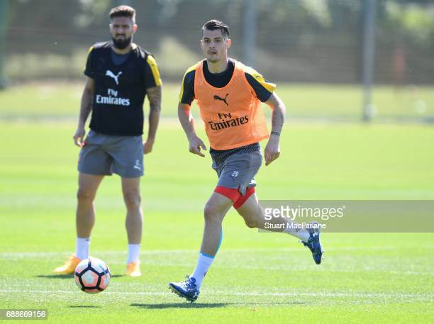 Granit Xhaka of Arsenal during a training session at London Colney on May 26 2017 in St Albans England