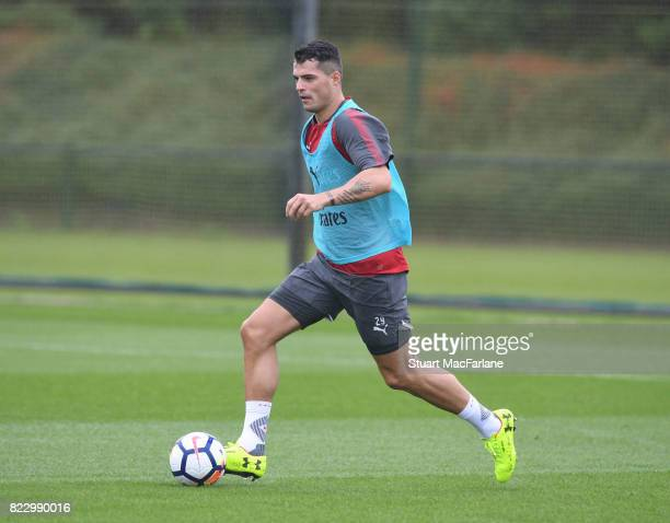 Granit Xhaka of Arsenal during a training session at London Colney on July 26 2017 in St Albans England