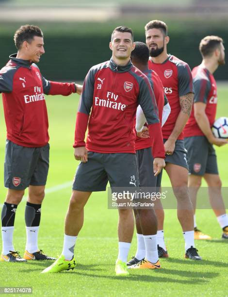 Granit Xhaka of Arsenal during a training session at London Colney on August 1 2017 in St Albans England