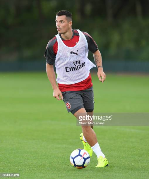 Granit Xhaka of Arsenal during a training session at London Colney on August 18 2017 in St Albans England