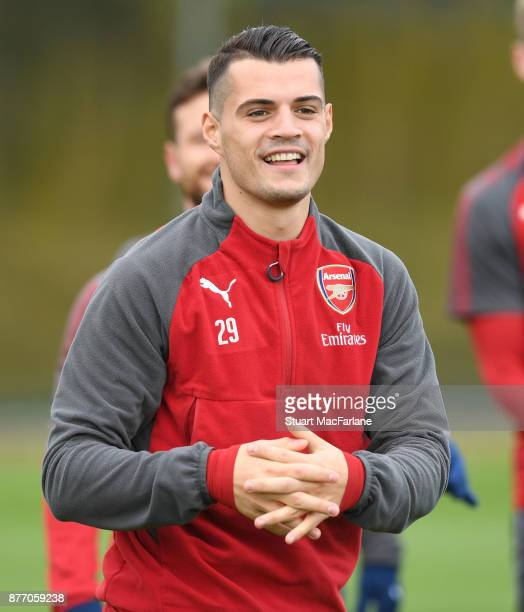 Granit Xhaka of Arsenal during a training session at London Colney on November 21 2017 in St Albans England