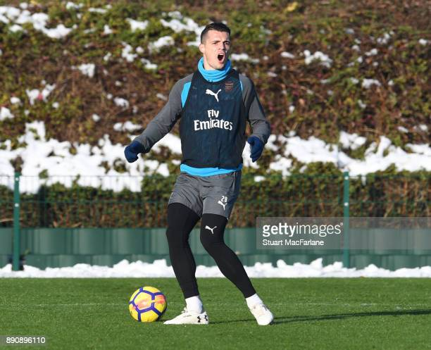 Granit Xhaka of Arsenal during a training session at London Colney on December 12 2017 in St Albans England