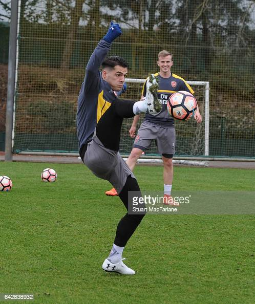 Granit Xhaka of Arsenal during a training session on February 19 2017 in St Albans England