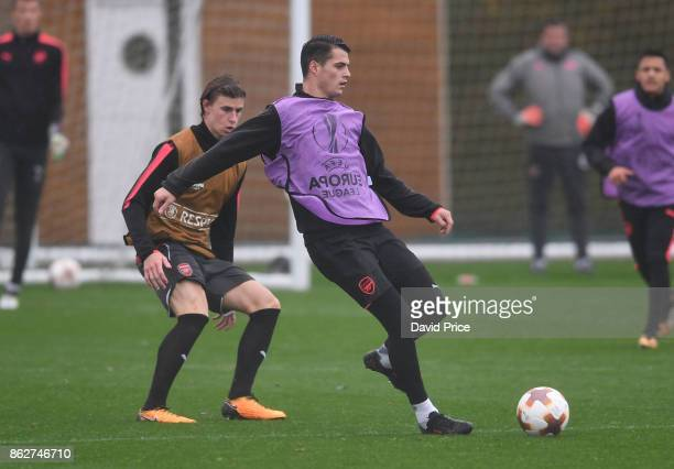 Granit Xhaka of Arsenal during the Arsenal Training Session at London Colney on October 18 2017 in St Albans England