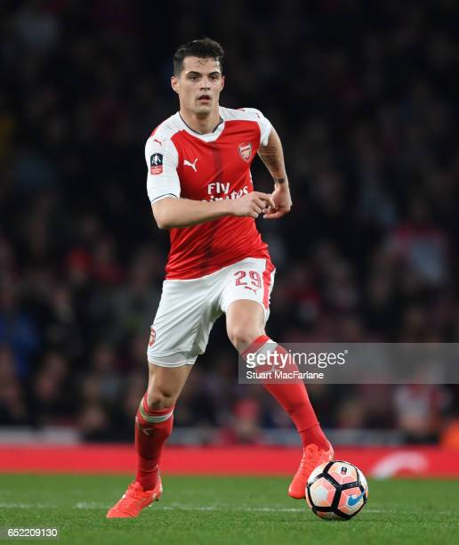 Granit Xhaka of Arsenal during the Emirates FA Cup QuarterFinal between Arsenal and Lincoln City at Emirates Stadium on March 11 2017 in London...