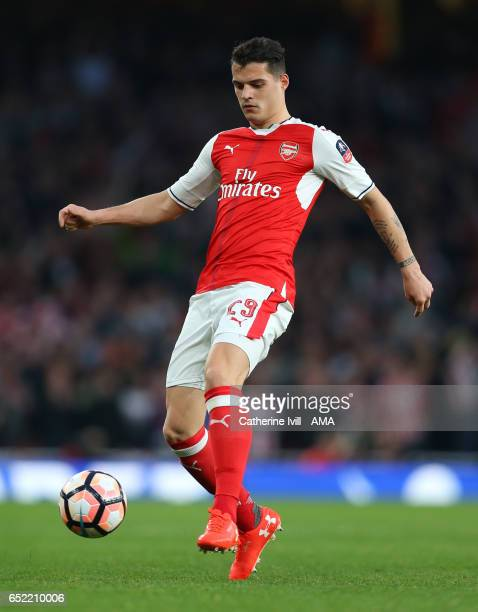 Granit Xhaka of Arsenal during The Emirates FA Cup QuarterFinal match between Arsenal and Lincoln City at Emirates Stadium on March 11 2017 in London...