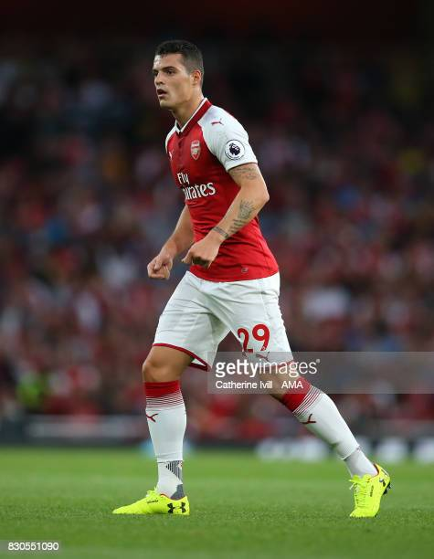 Granit Xhaka of Arsenal during the Premier League match between Arsenal and Leicester City at Emirates Stadium on August 11 2017 in London England
