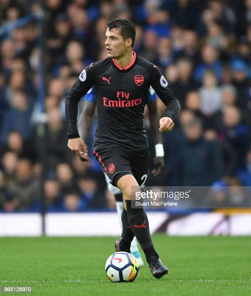 Granit Xhaka of Arsenal during the Premier League match between Everton and Arsenal at Goodison Park on October 22 2017 in Liverpool England