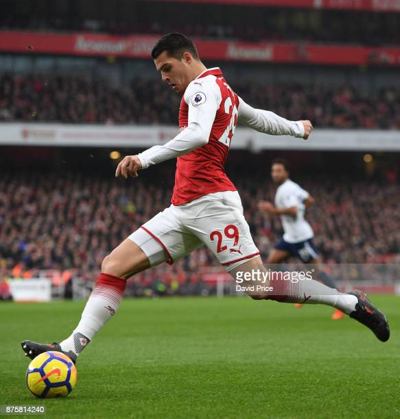 Granit Xhaka of Arsenal during the Premier League match between Arsenal and Tottenham Hotspur at Emirates Stadium on November 18 2017 in London...