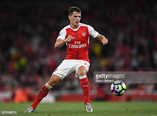 Granit Xhaka of Arsenal in action during the Premier League match between Arsenal and Chelsea at the Emirates Stadium on September 24 2016 in London...