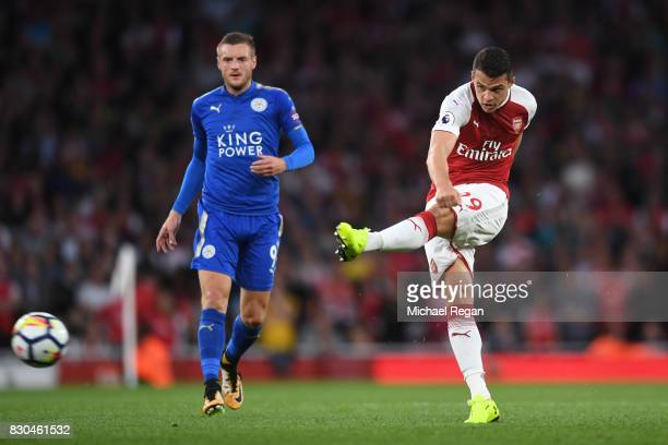Granit Xhaka of Arsenal in action during the Premier League match between Arsenal and Leicester City at the Emirates Stadium on August 11 2017 in...