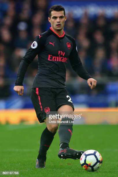 Granit Xhaka of Arsenal in action during the Premier League match between Everton and Arsenal at Goodison Park on October 22 2017 in Liverpool England