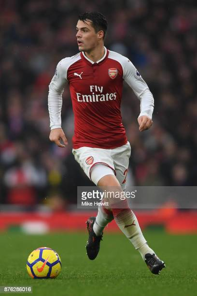 Granit Xhaka of Arsenal in action during the Premier League match between Arsenal and Tottenham Hotspur at Emirates Stadium on November 18 2017 in...