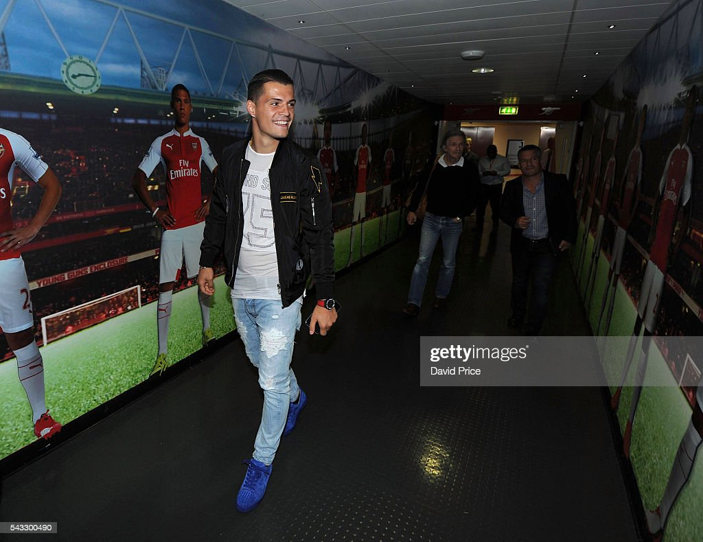 <a gi-track='captionPersonalityLinkClicked' href=/galleries/search?phrase=Granit+Xhaka&family=editorial&specificpeople=5848141 ng-click='$event.stopPropagation()'>Granit Xhaka</a> of Arsenal is given a tour Emirates Stadium on June 27, 2016 in London, England.