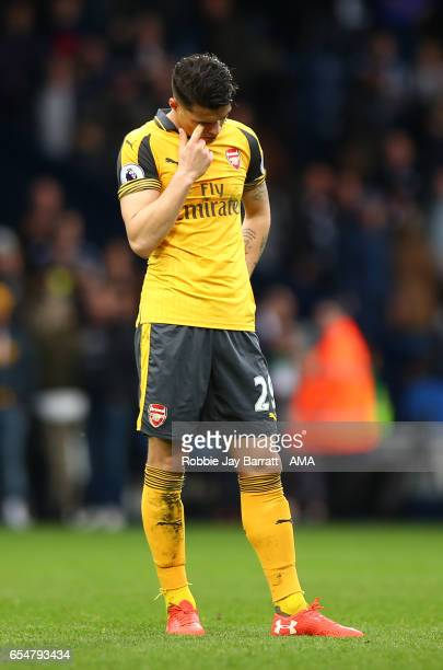 Granit Xhaka of Arsenal looks dejected during the Premier League match between West Bromwich Albion and Arsenal at The Hawthorns on March 18 2017 in...